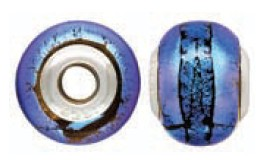 925 Designer Dichroic Beads- Blue/Green Giant