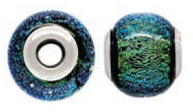 925 Designer Dichroic Beads- Glowing Blue/Green Giant