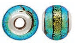 925 Designer Dichroic Beads- Flourescent Green Giant