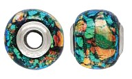 925 Designer Dichroic Beads- Green/Teal/ Orange Giant