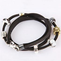 925 Sterling Leather Wrap Bracelet w/ Lobster Big Clasp