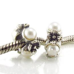 Charm 925 Silver & Pearl - Flower