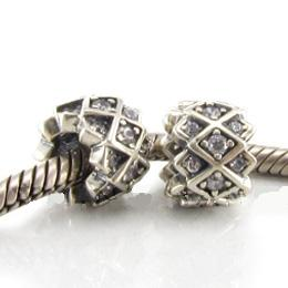 Charm 925 CZ Stone - Weave - Clear