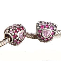 Charm 925 CZ Stone - Heart - Pink & Light Pink