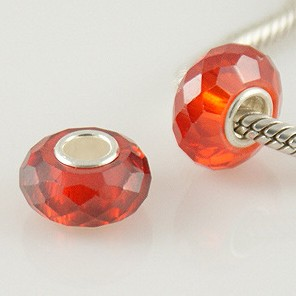 925 Zircon Beads - Light Siam Red