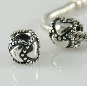 Charm 925 Silver - Rondelle - Heart