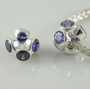 Charm 925 - Crystals - Staggared - Purple