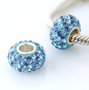 Charm 925 - 5 Row Crystals - Light Blue & Purple Diagonal Lines
