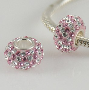 Charm 925 - 5 Row Crystals - Pink & Light Pink Diagonal Lines