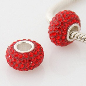 Charm 925 - 5 Row Crystals - Red