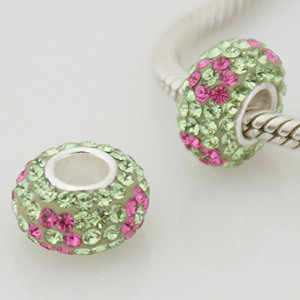 Charm 925 - 5 Row Crystals - Flower - Lime w/ Pink Petals