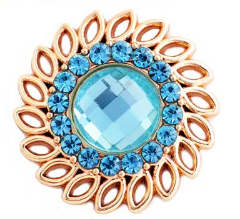 Snap Jewelry Rhinestone - Gold Faceted Crystal Light Blue