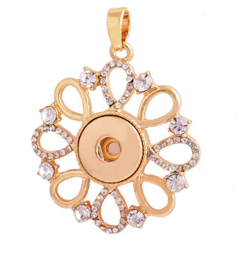 Snap Jewelry Gold Pendant Flower Rhinestone