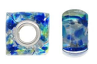 925 Glass Beads - Square - Oceanic Blues