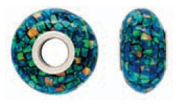 925 Opal Created Bead - Blue/Green Mosiac