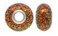925 Opal Created Bead - Red Mosiac