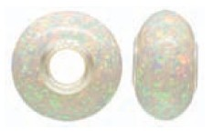 925 Opal Created Bead - White Mosiac