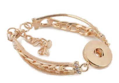 Snap Jewelry Bracelet Lobster - CZ Snake & Link Chain Gold Pl.