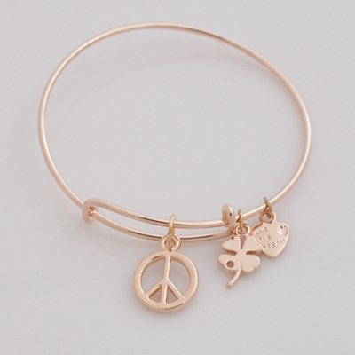 A&A Bracelet - Peace Sign Rose Gold Plated