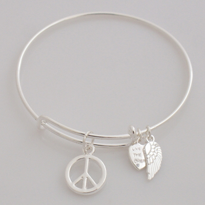 A&A Bracelet - Peace Sign Silver Plated