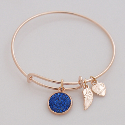 A&A Crystal Bracelet - Primary Blue Rose Gold Plated