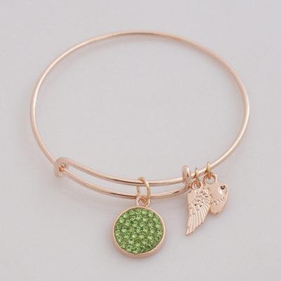 A&A Crystal Bracelet - Peridot Lime Green Rose Gold Plated