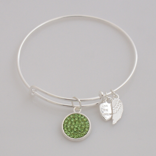 A&A Crystal Bracelet - Peridot Lime Green Silver Plated