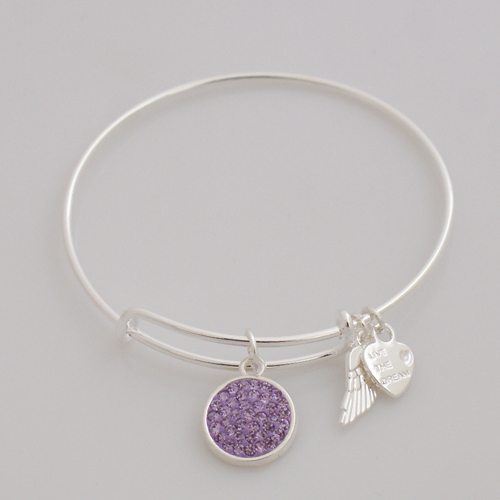 A&A Crystal Bracelet - Lavender Silver Plated