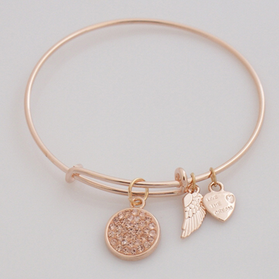 A&A Inspired Crystal Bracelet - Peach Rose Gold Plated