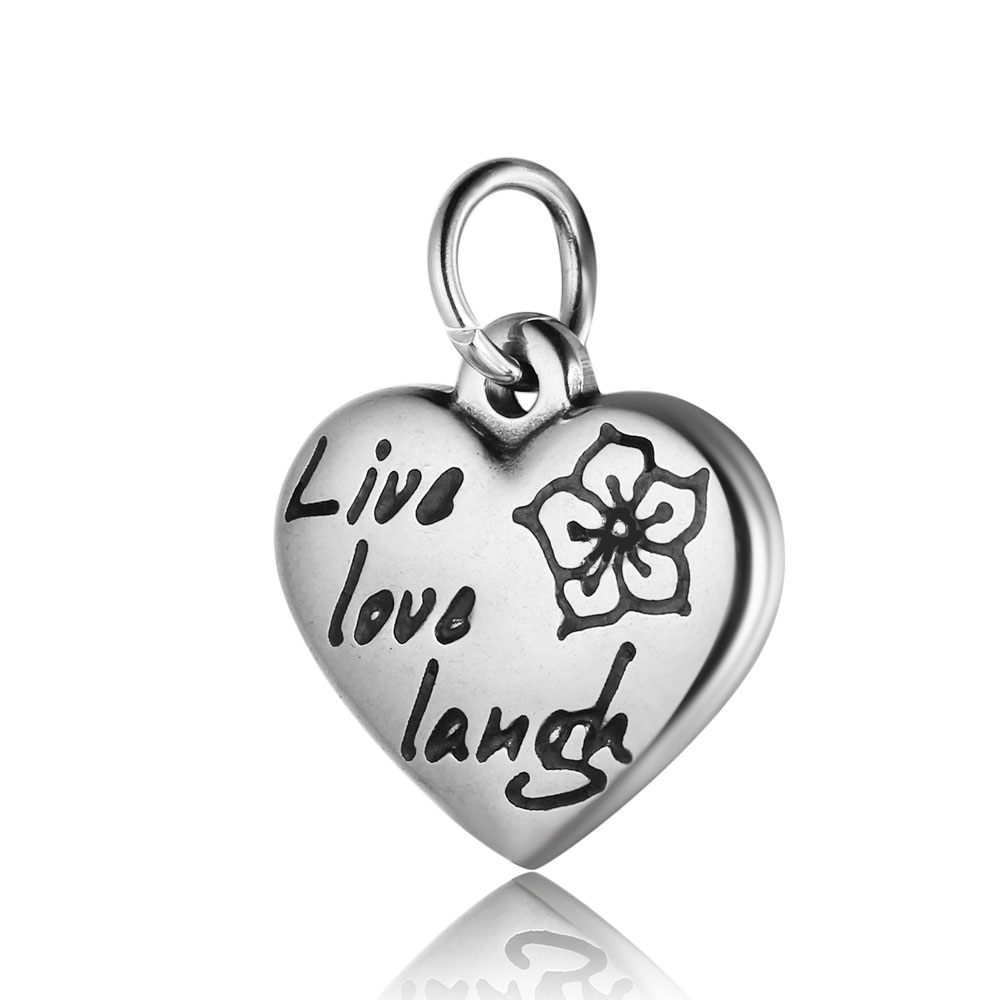 17*21mm Small Stainless Steel Heart Charm - Live, Love & Laugh