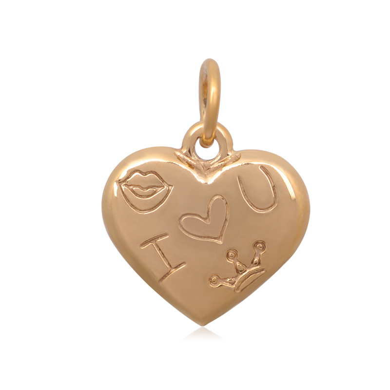 17*21mm Small Stainless Steel Heart - Gold I love U