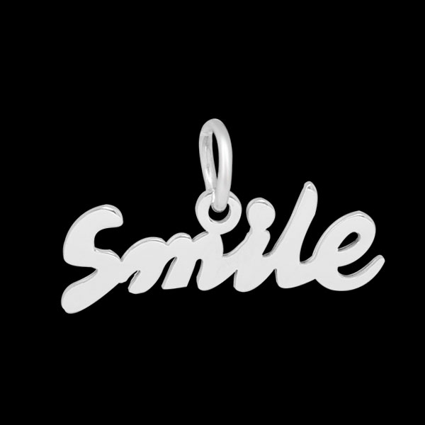 13*24mm Small Stainless Steel Script Charm - Smile