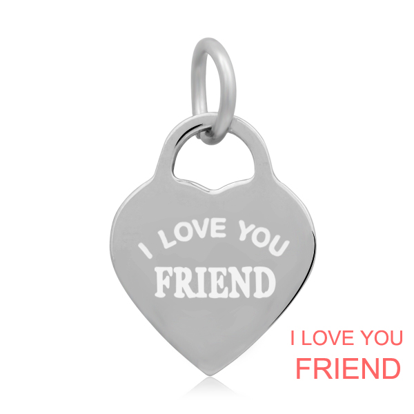 14*22mm Small Stainless Steel Heart Charm - I love You Friend
