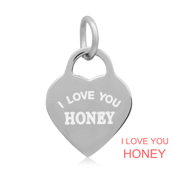 14*22mm Small Stainless Steel Heart Charm - I love You Honey