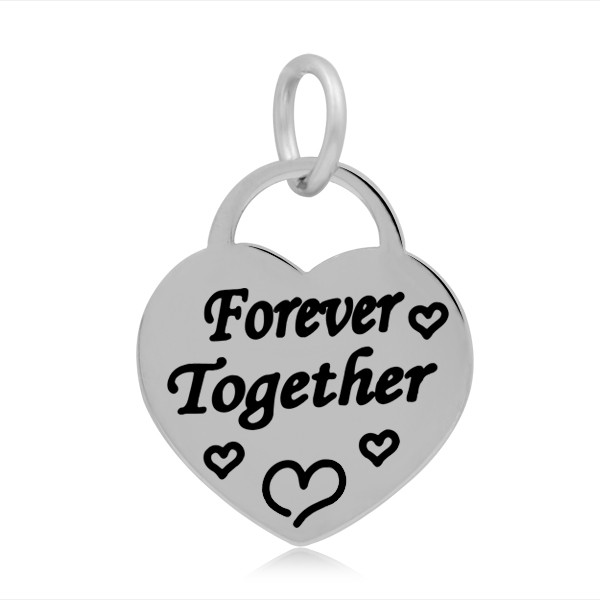17*25mm Small Stainless Steel Heart Charm - Forever Together
