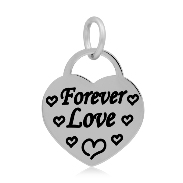 17*25mm Small Stainless Steel Heart Charm - Forever Love