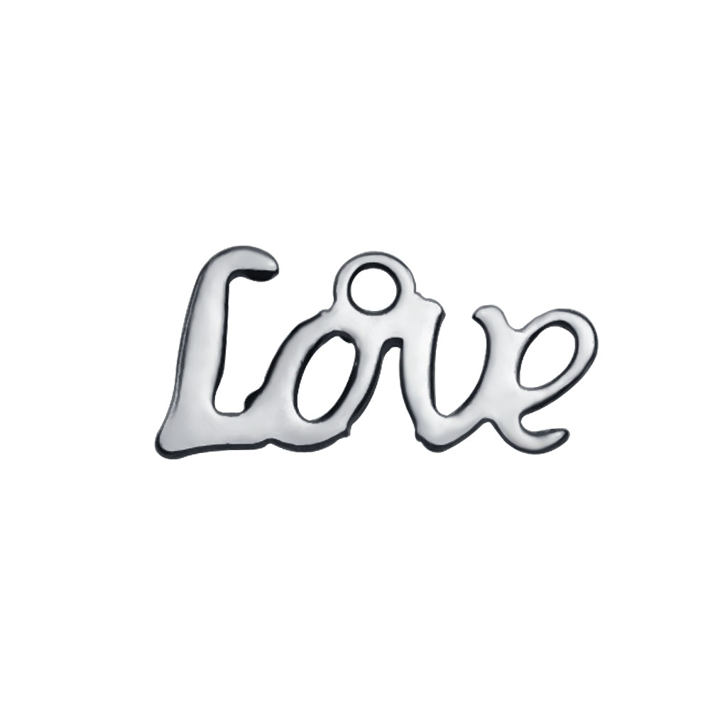 6*12mm Extra Small Stainless Steel Script Charm - Love