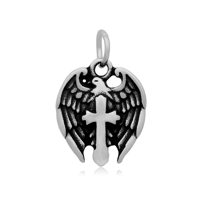 16*25mm Small Stainless Steel Charm - Pray Warrior Cross Wings