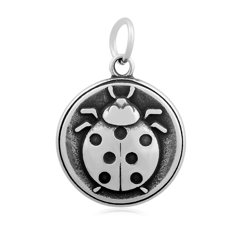 19*29mm Medium Stainless Steel Charm- Ladybug