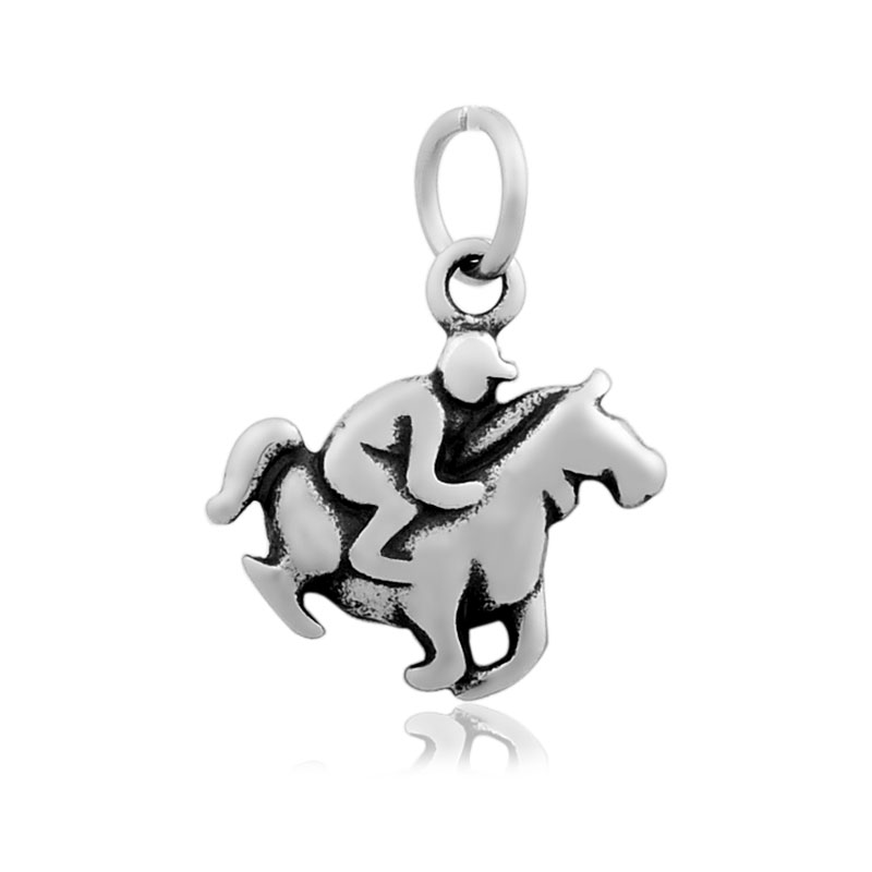 16*23mm Small Stainless Steel Charm - Horse & Rider