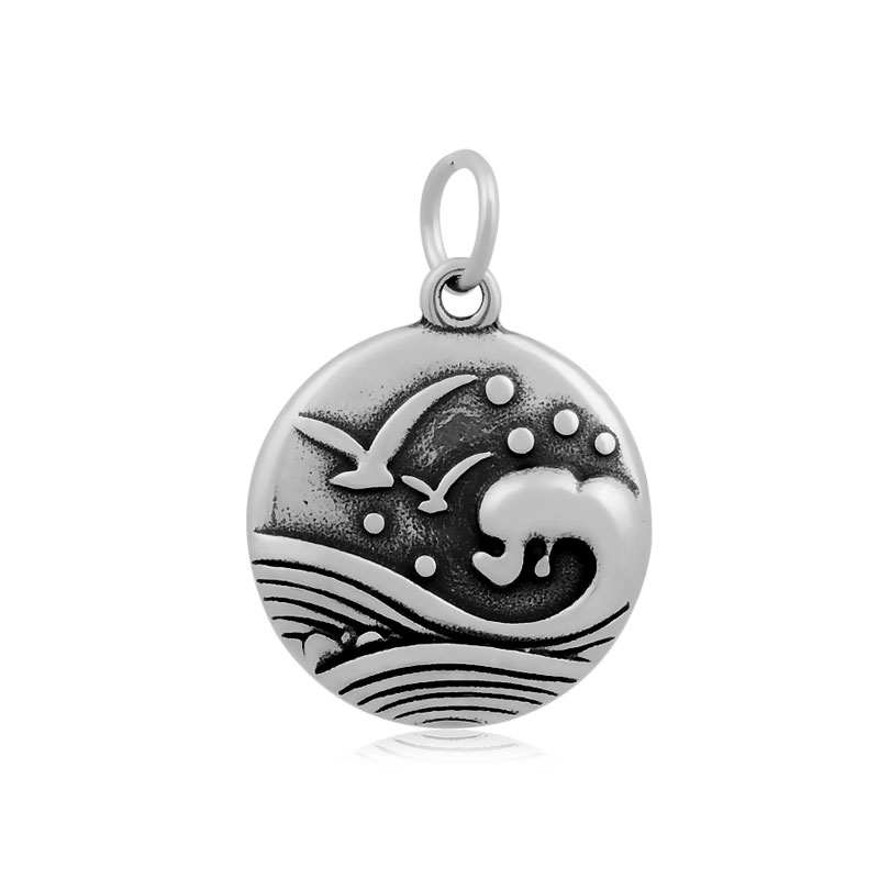 20*29mm Medium Stainless Steel Charm - Ocean Waves Seagull Bird