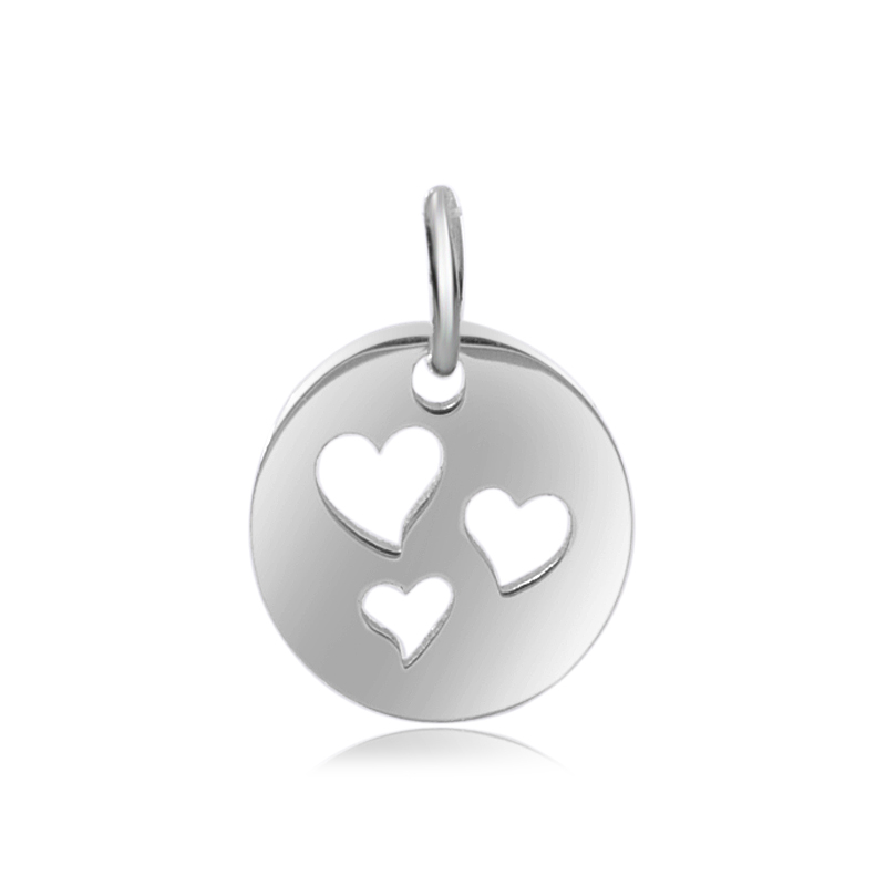 12*20mm Small Stainless Steel Charm - Heart Triple