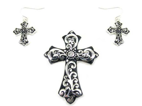 Cross Magentic Veil Pendants - Filagree