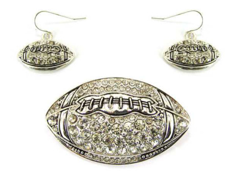 Football Magnetic Veil Pendants - Clear Crystal