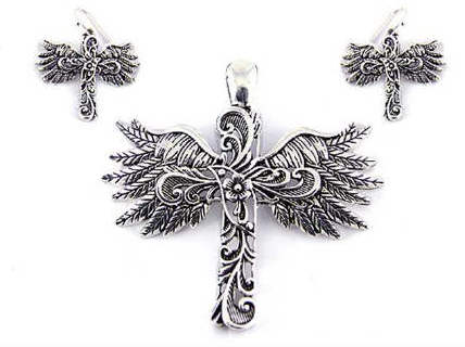 Filigree Cut Cross Wing Large Bail Pendant