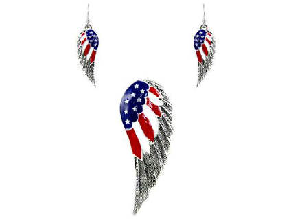 Angel Wing USA Flag Magnetic Bail Pendant Set