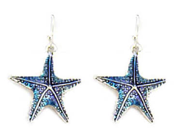 Starfish Designer Earrings Shades of Blue
