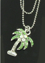 Anklet Double Strand Chain - Palm Tree Clear, Green & AB