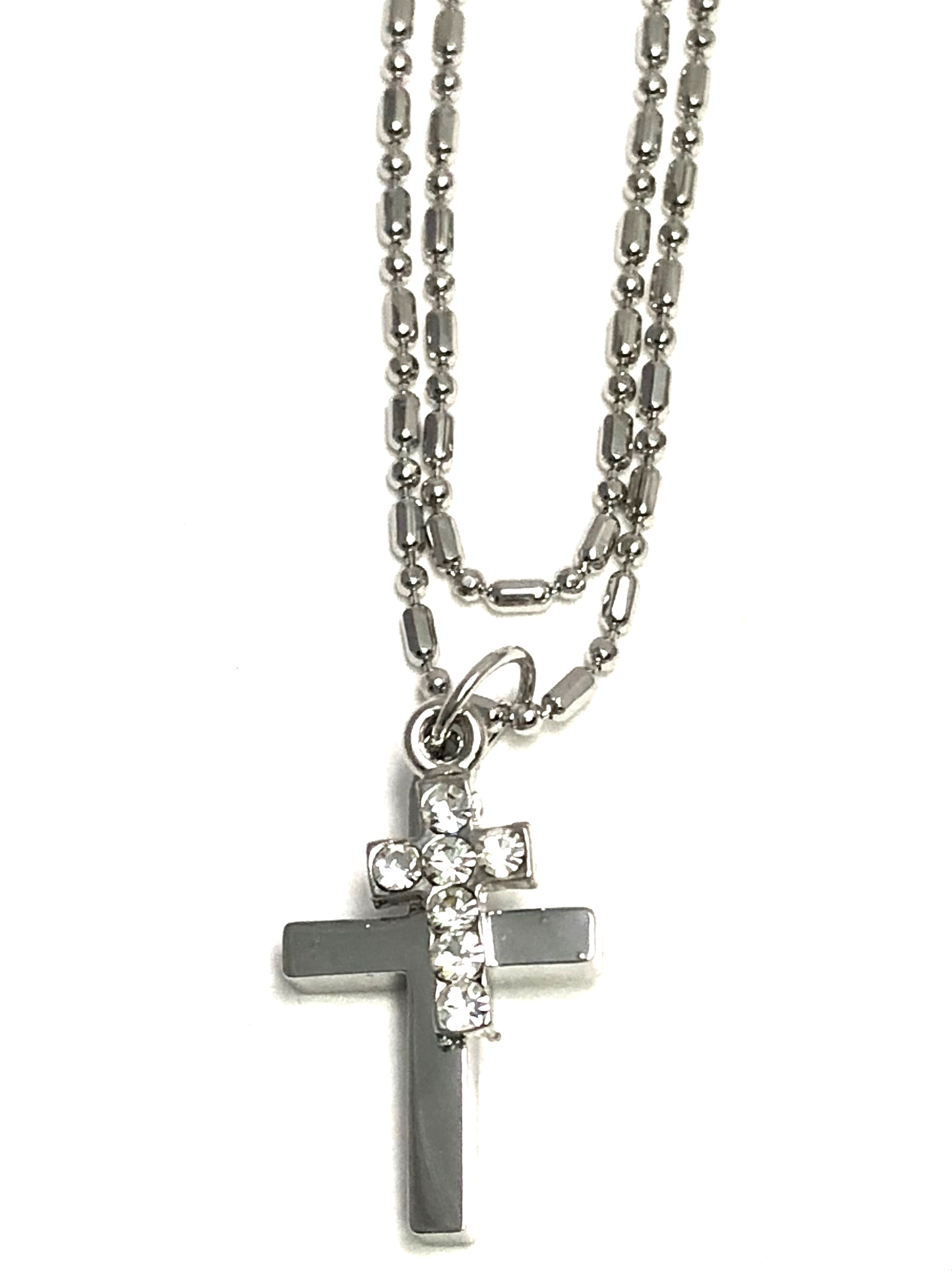 Cross anklet Double Strand Chain - Two Crosses