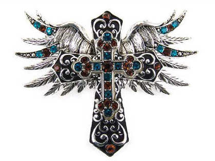 Pave Rhinestone Cross & Wing Magnetic Veil Pendant Set